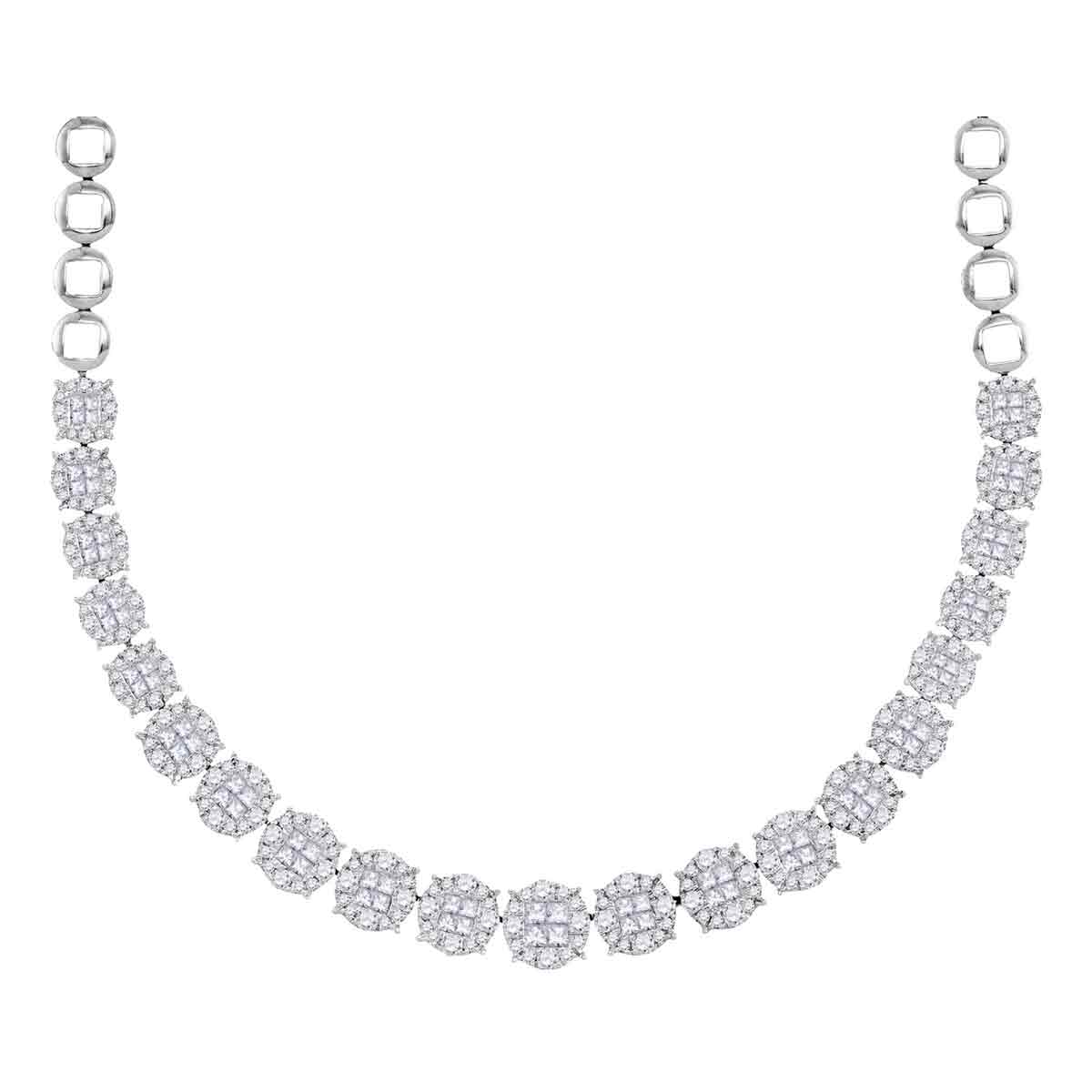 14kt White Gold Womens Princess Diamond Soleil Cluster Luxury Necklace 10 Cttw by