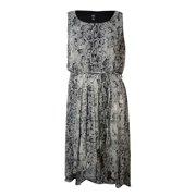 MSK Women's Belted Snake Print Hi-Low Dress (16W, Black/Grey)