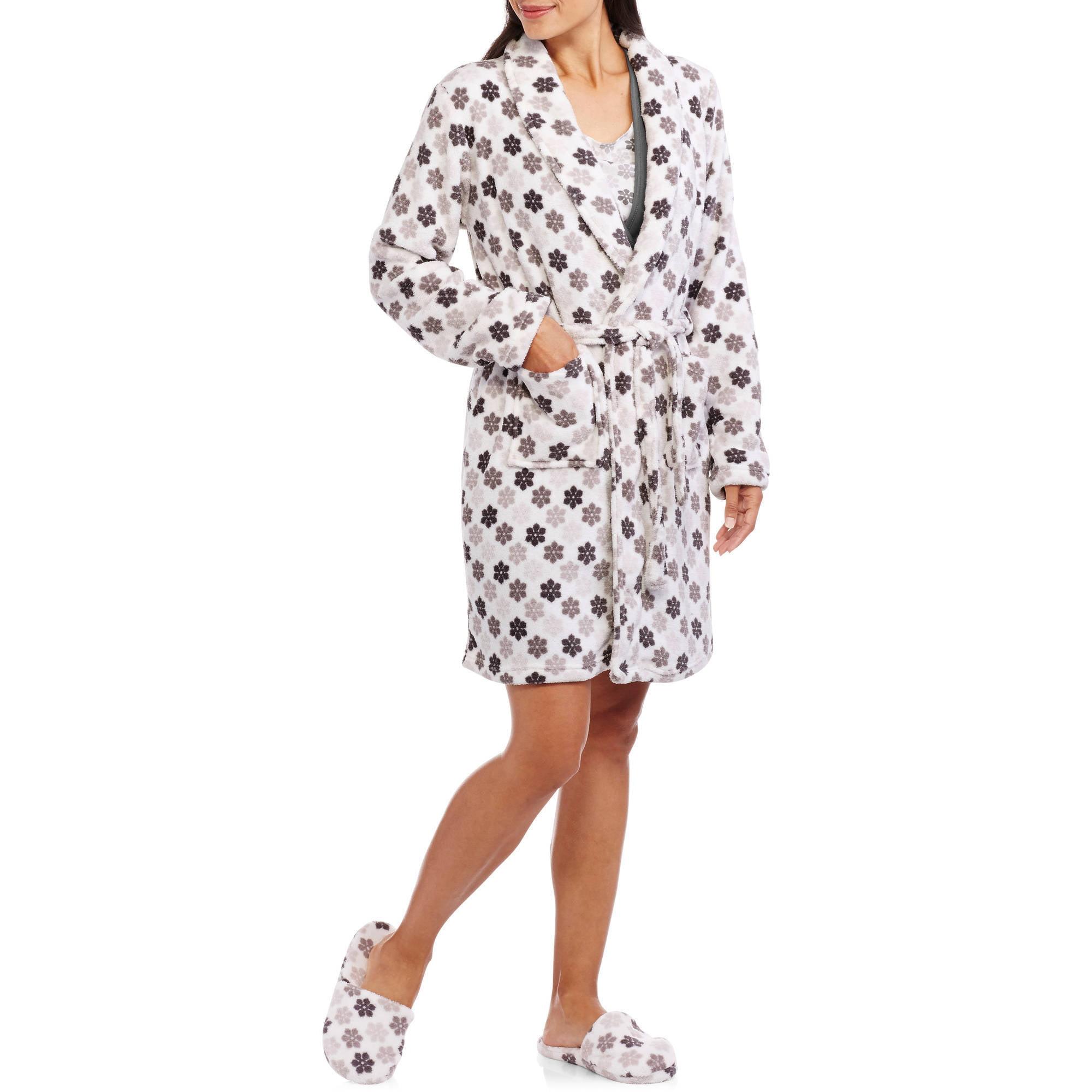 Maternity 3-Piece Nursing Chemise, Robe and Slippers Sleepwear Set ...