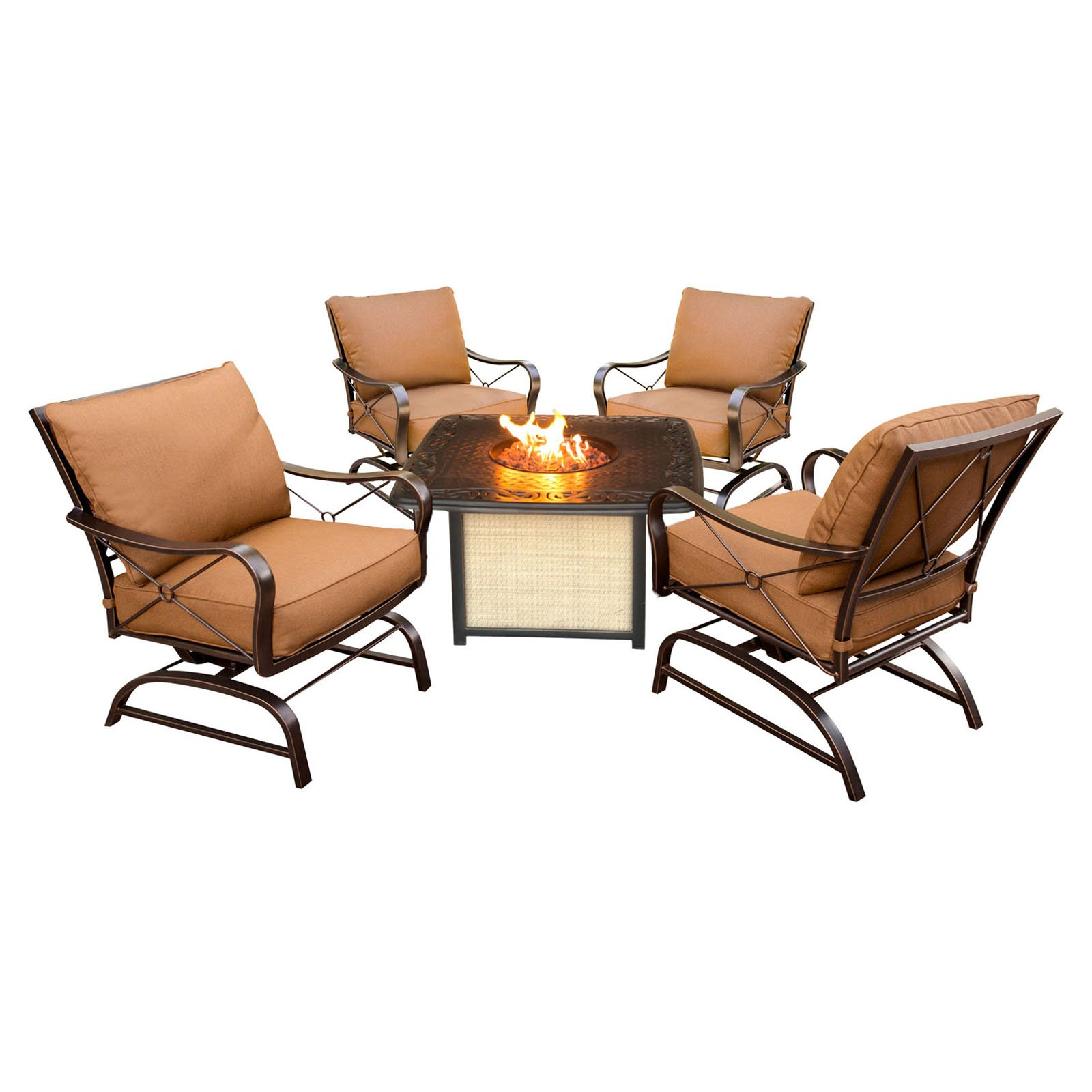 Hanover Outdoor Summer Nights 5-Piece Lounge Set with Cast-Top Firepit Table, Desert Sunset by Hanover Outdoor