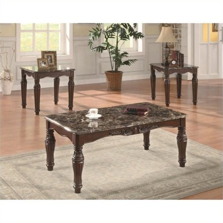 Peachy Bowery Hill 3 Piece Faux Marble Coffee Table Set In Cherry Caraccident5 Cool Chair Designs And Ideas Caraccident5Info