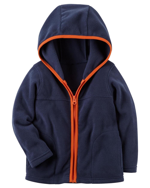 Carter's Baby Boys' Fleece Zip-Up Hoodie; Navy With Orange Trim, 3 Months