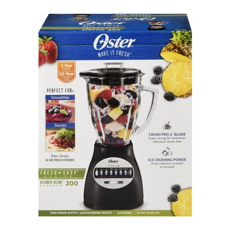 Oster BCBG08-B 6-Cup Glass Jar 8-Speed Blender - Black