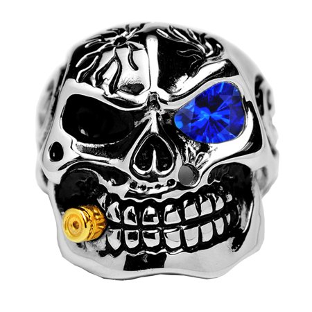 Men's Casted Stainless Steel Skull Biker Ring with Simulated Sapphire Color Cubic Zirconia & Bullet (Sapphire Biker Ring)