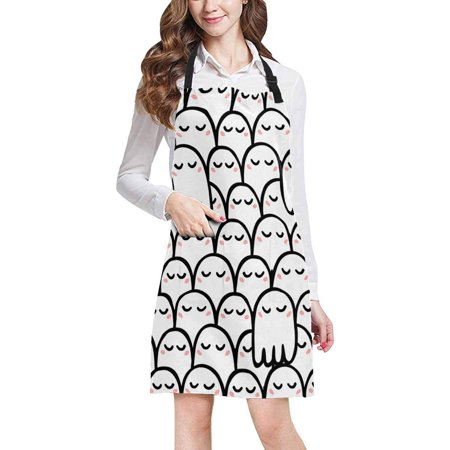 ASHLEIGH Cute Cartoon Ghosts Funny Halloween Theme Unisex Adjustable Bib Apron with Pockets for Women Men Girls Chef for Cooking Baking Gardening Crafting](Cute Baking Ideas For Halloween)