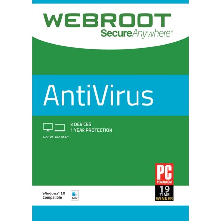 Webroot Internet Security Antivirus | 3 Device | 1 Year | PC/Mac (Best Lightweight Internet Security)