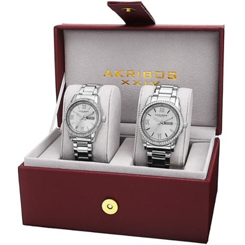 Akribos XXIV His & Hers Japanese Quartz Crystal-Accented Stainless Steel Bracelet Watch