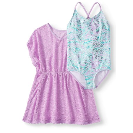 Crossback One-Piece Swimsuit and Kaftan Coverup, 2-Piece Set (Little Girls, Big Girls & Big Girls Plus) (Swimsuits For Girls)