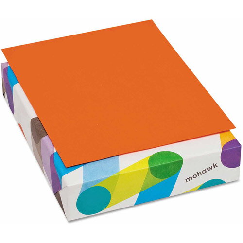 Mohawk BriteHue Multipurpose Colored Paper, 20lb, 8-1/2 x 11, Orange, 500 Shts/Rm