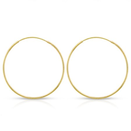 14k Yellow Gold Womens 1mm Round Endless Tube Hoop Earrings 20mm Diameter