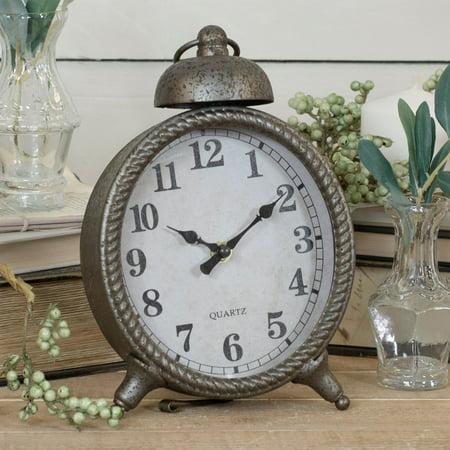 Boudoir Table Clock - American Mercantile Distressed Metal Table Clock
