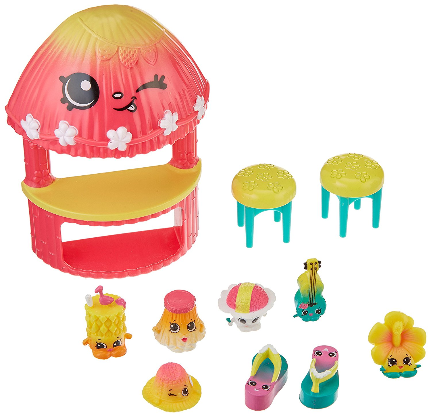 S4 Tropical Fashion Pack Collection, This pack contains 8 exclusive Sun Loving Shopkins with their Hula Hut and 2 stools By Shopkins