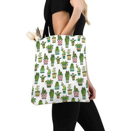 HATIART Colorful Doodle Flowers Watercolor Succulent and Cactus Unisex Canvas Tote Canvas Shoulder Bag Resuable Grocery Bags Shopping Bags for Women Men Kids - image 3 of 3