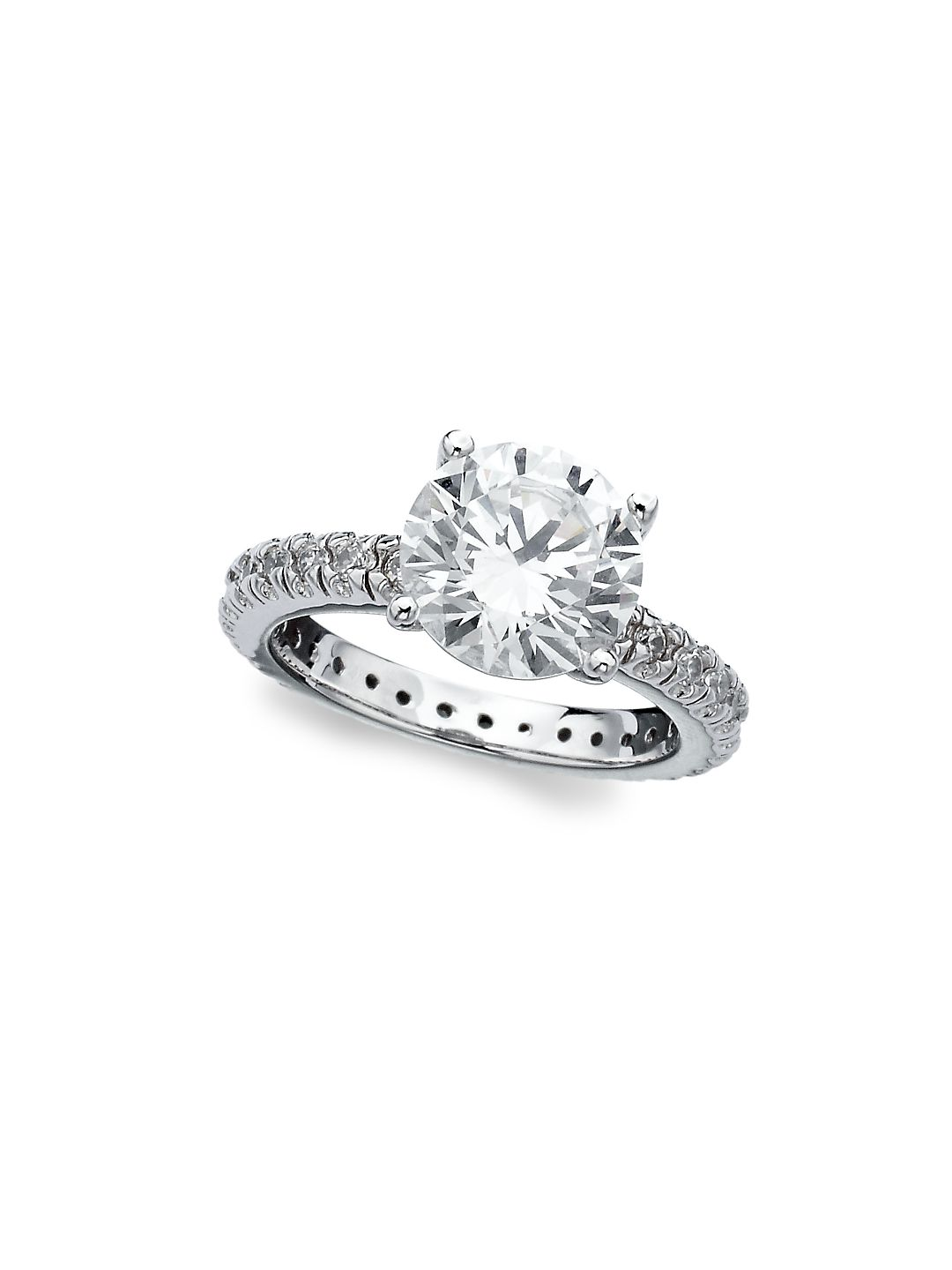 Classic Brilliant Solitaire Pavé Sterling Silver Ring