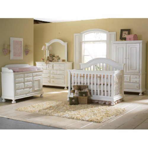 Creations Baby Summers Evening 4 in 1 Convertible Crib Collection - Rubbed White