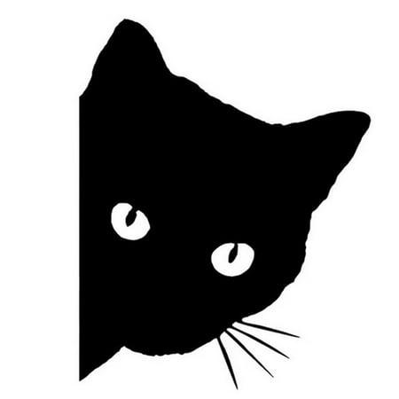 12x15cm Car Cat Face Pet Decal Cute Car Truck Window Bumper Wall Reflective Sticker black