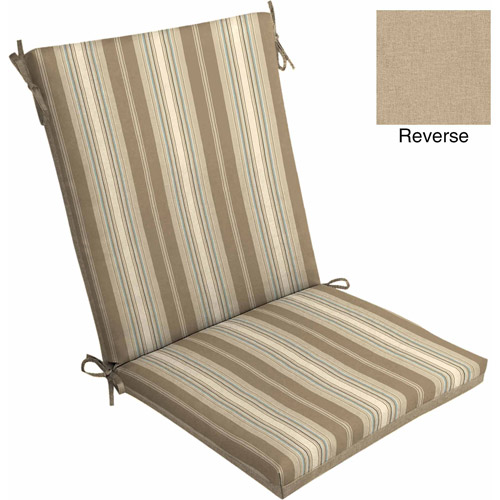 Mainstays Outdoor Dining Chair Cushion, Tan Stripe