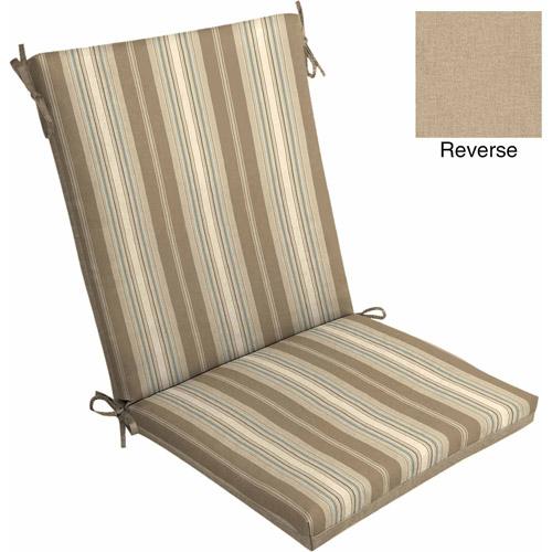 Mainstays Outdoor Dining Chair Cushion, Tan Stripe