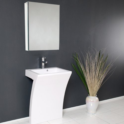 Fresca Quadro 22.5-in. White Pedestal Sink & Medicine Cabinet FVN5024WH