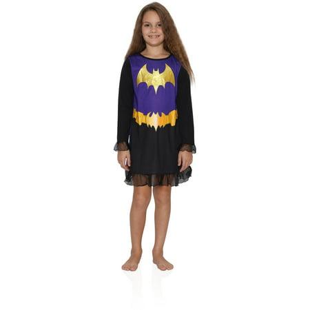 DC Comics Girls' Superhero Night Shirt Costume Pajamas Nightgown Gown, Black, Size: 4-5 - Superhero Nightgown