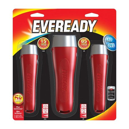 Eveready 12431 - Red General Purpose LED Flashlights (Batteries Included) (Set of 3)