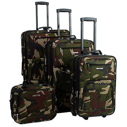 Rockland Luggage Journey 4 Piece Expandable Luggage Set, Camouflage