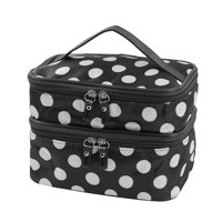 Travel Cosmetic Makeup Bag Organizer Double Layer Dot Pattern Toiletry Bag Case Pouch With Mirror For Woman