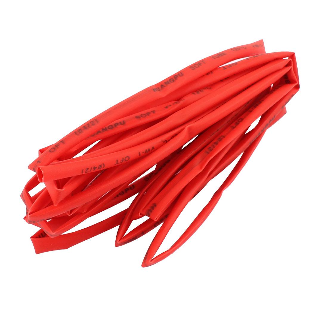 4M Length 4mm Dia Polyolefin Heat Shrinkable Tube Sleeving Red