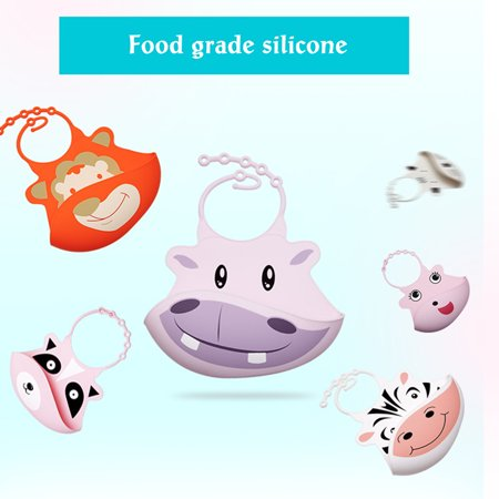 Silicone Baby Bibs Feeding Pocket Bibs Soft Waterproof Easy Clean Food Catcher Cartoon Animal for Babies & Toddlers (Easy Clean Bibs)