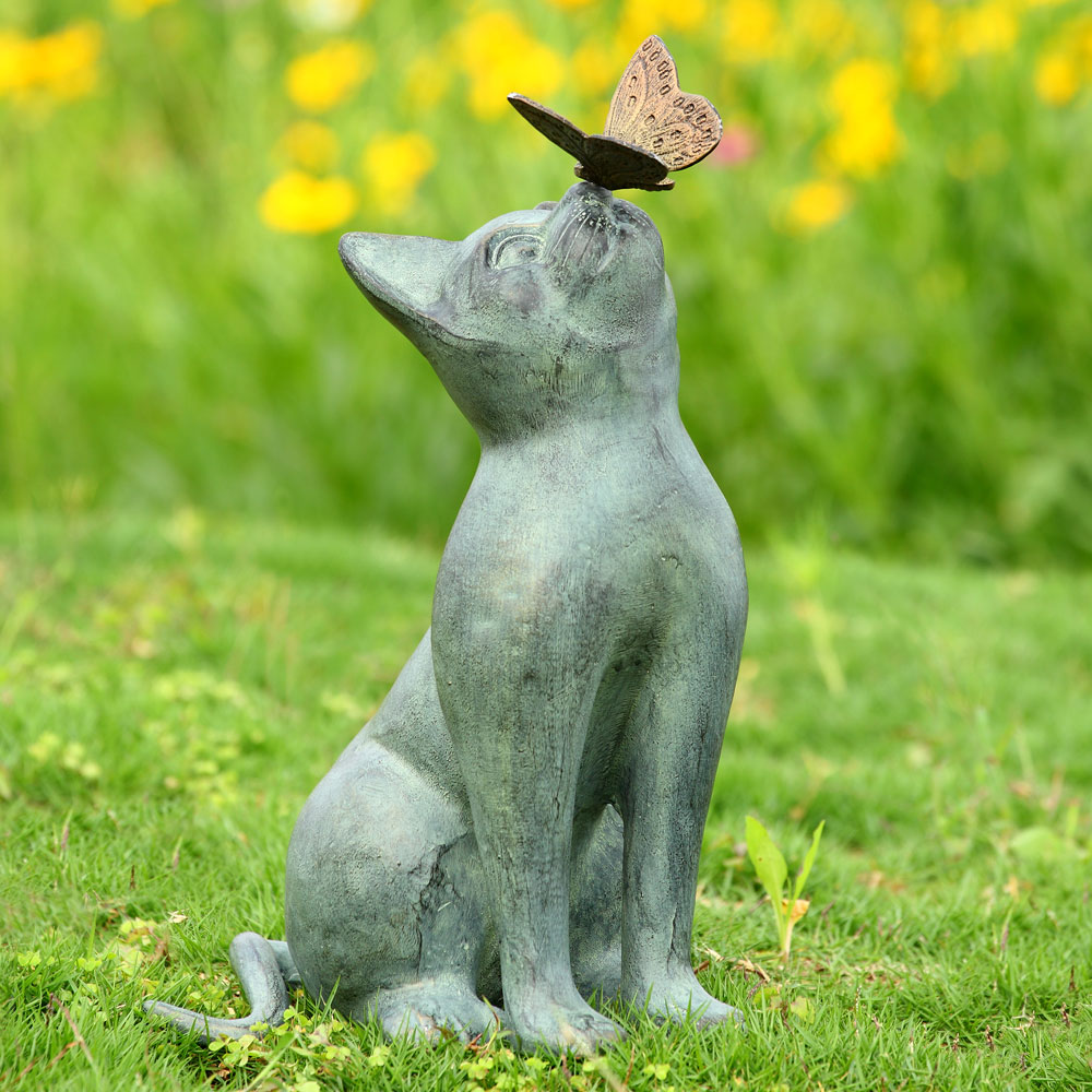 Curiosity Garden Sculpture Cat and Butterfly by SPI Home