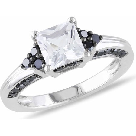 1 1 3 Carat T G W  Created White Sapphire And 3 8 Carat T W  Black Diamond Sterling Silver Engagement Ring