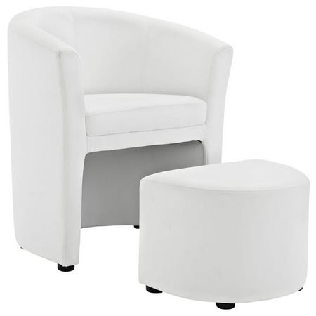 Hawthorne Collection Faux Leather Accent Chair with Ottoman in White