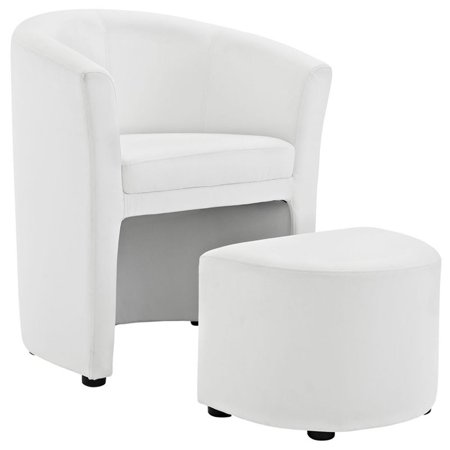 Hawthorne Collection Faux Leather Accent Chair with Ottoman in White - image 2 of 5