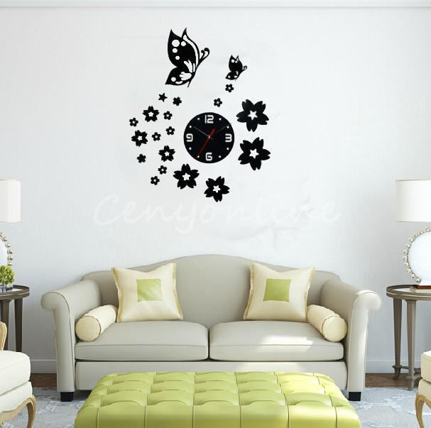 Frameless DIY Novelty 3D Modern Wall Clock Home Art Decor Sticker Mirror BedRoom Plum Flower Luxury Bedroom Living Room... by