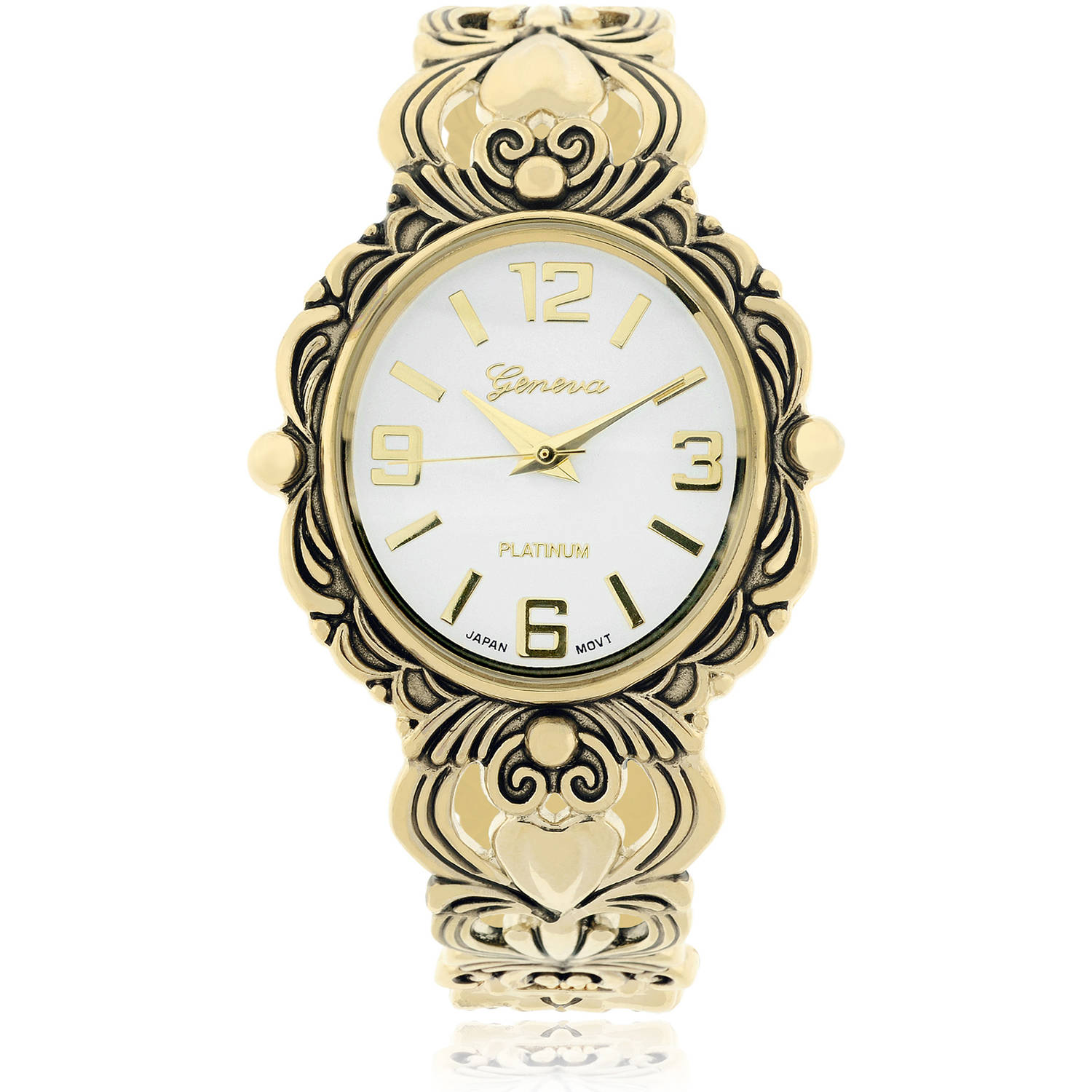 Brinley Co. Women's Stainless Steel Antiqued Cuff Fashion Watch, Gold