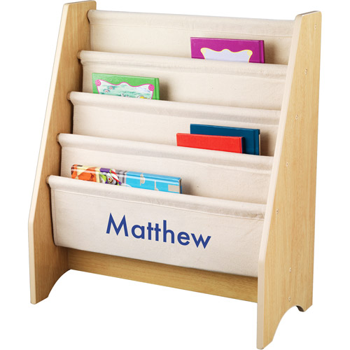 KidKraft - Personalized Natural Sling Bookshelf, Blue Block Font Boy's Name