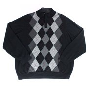 Tasso Elba NEW Black Argyle Knit Print Men's Size 2XL 1/2 Zip Sweater $60