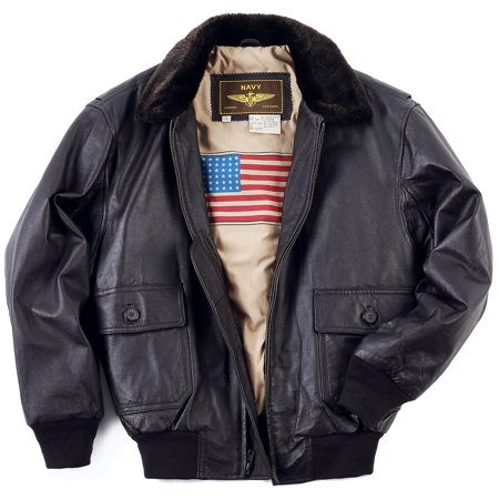 Leather Bomber Style Jacket (Landing Leathers Mens Navy G-1 Leather Flight Bomber Jacket (Regular & Tall) )