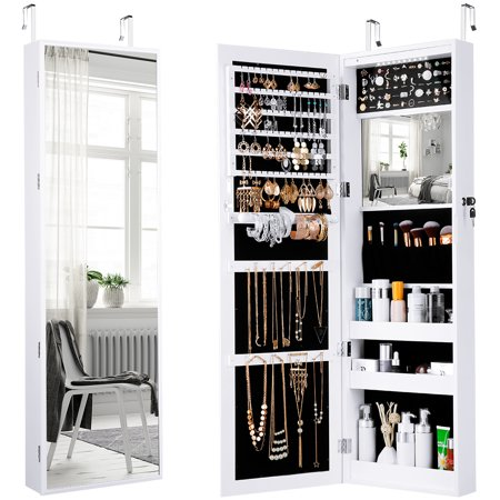 Langria Mirrored Jewelry Armoire With 10 Automatic Led
