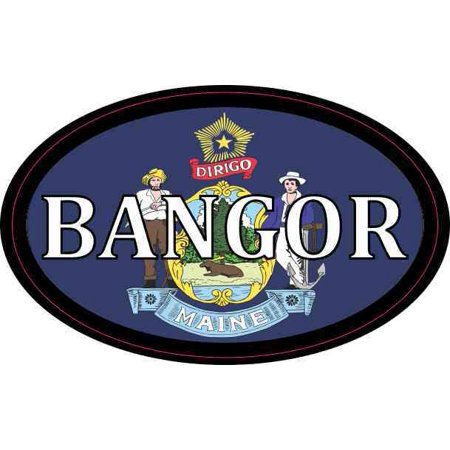 4in x 2.5in Oval Maine Flag Bangor Sticker](Party City Bangor Maine)