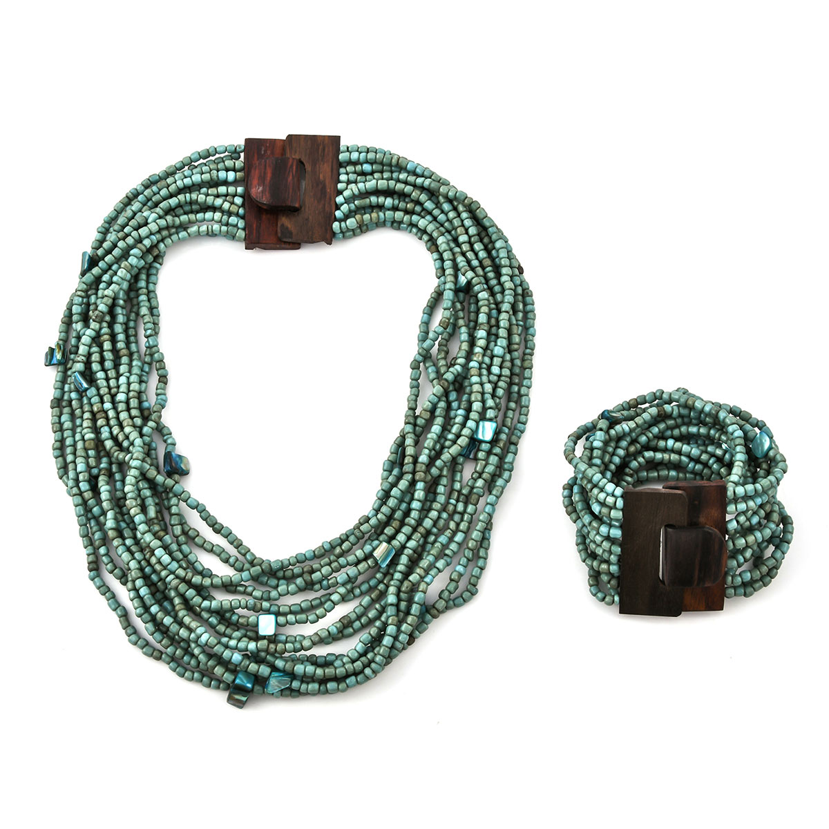 stretchable Wooden beads jewelry set