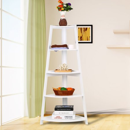 Ejoyous Wooden White Modern 5-Tier Corner Ladder Shelf Bookshelf Storage Organizer Display Rack Stand, Corner Bookcase, 5-Tier Ladder Shelf