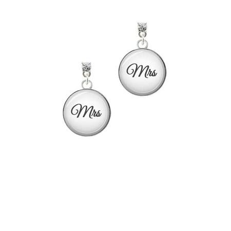 Silvertone Domed Mrs. Clear Crystal Post - Mrs Earrings