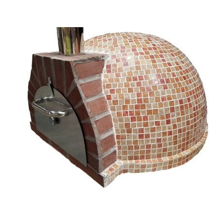 Pizza Oven Outdoor Red Orange Tan Mosaic Tile, Wood Coal Fired BBQ Grill Roast, Stone Brick Clay Cement