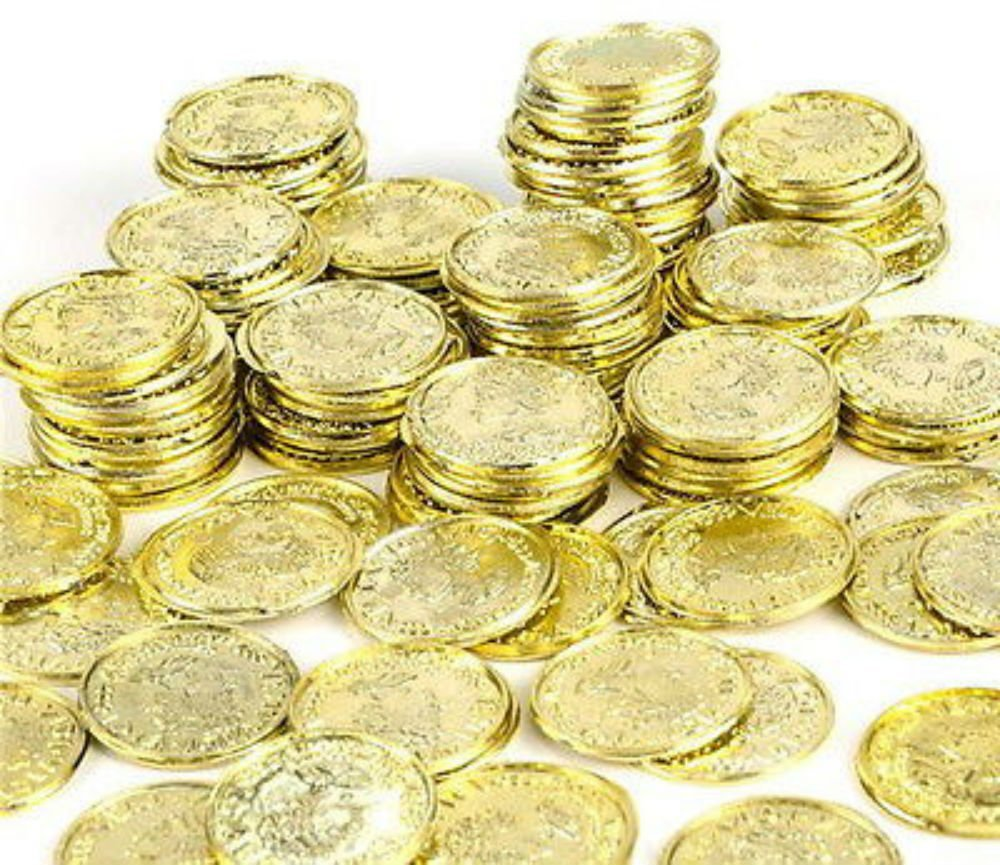 1000 Plastic Pirate Gold Play Toy Coins Birthday Party Favors Pinata Money Coin, SUPER HOT TOY!! By Unbranded by