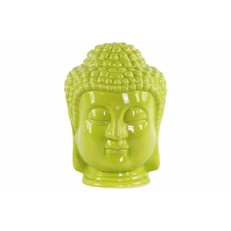 (Ceramic Buddha Head with Beaded Ushnisha - Green - Benzara)