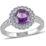 1-1/3 Carat T.G.W. Amethyst and 1/7 Carat T.W. Diamond Sterling Silver Halo Cocktail Ring