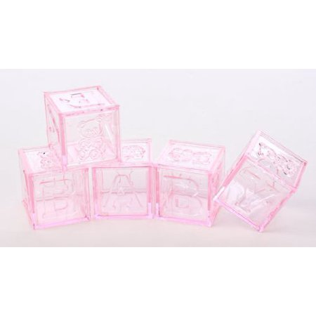 Adorable Baby Girl Pink Acrylic Alphabet Fillable Baby Blocks- For Showers, Decorating and More- 24 Total Blocks by Unknown