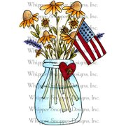 "Whipper Snapper Cling Stamp 4""X6""-Patriotic Flowers"