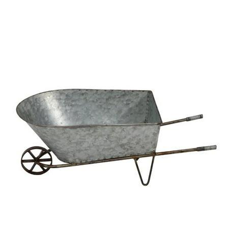Gracie Oaks Matsumura Decorative Tin Metal Wheelbarrow Planter - Decorative Wheelbarrow